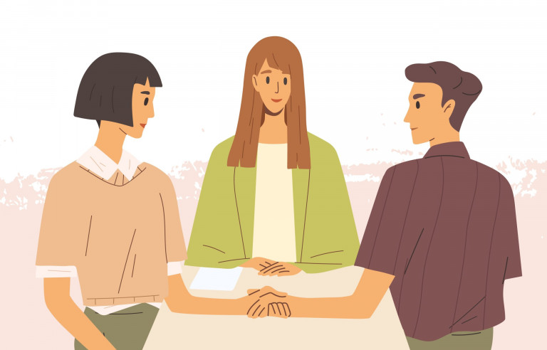Concept of mediation. Man and woman sitting at desk, discussing problem, finding solution. Partners negotiation process with impartial arbitration. Vector illustration in flat cartoon style.